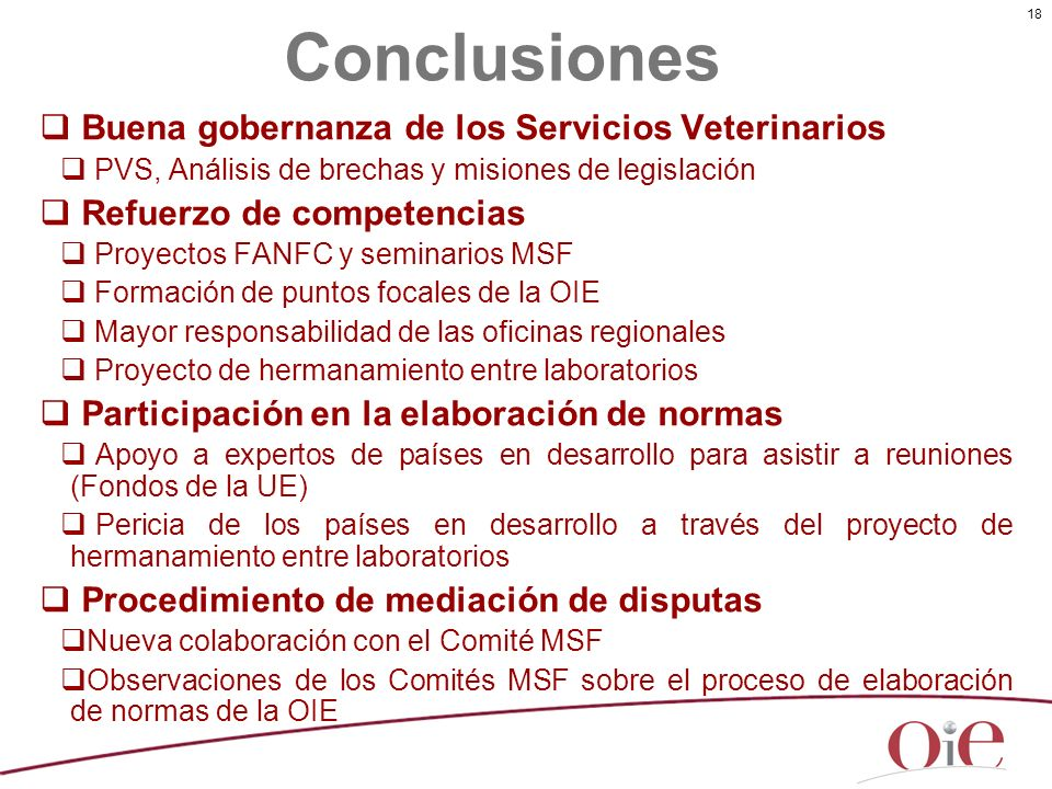 Conclusiones Buena gobernanza de los Servicios Veterinarios