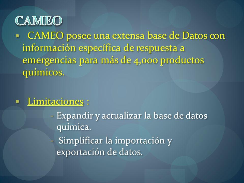 CAMEO CAMEO posee una extensa base de Datos con información específica de respuesta a emergencias para más de 4,000 productos químicos.