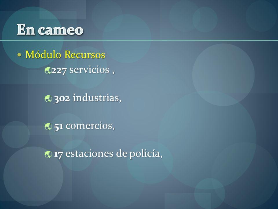 En cameo Módulo Recursos 227 servicios , 302 industrias, 51 comercios,