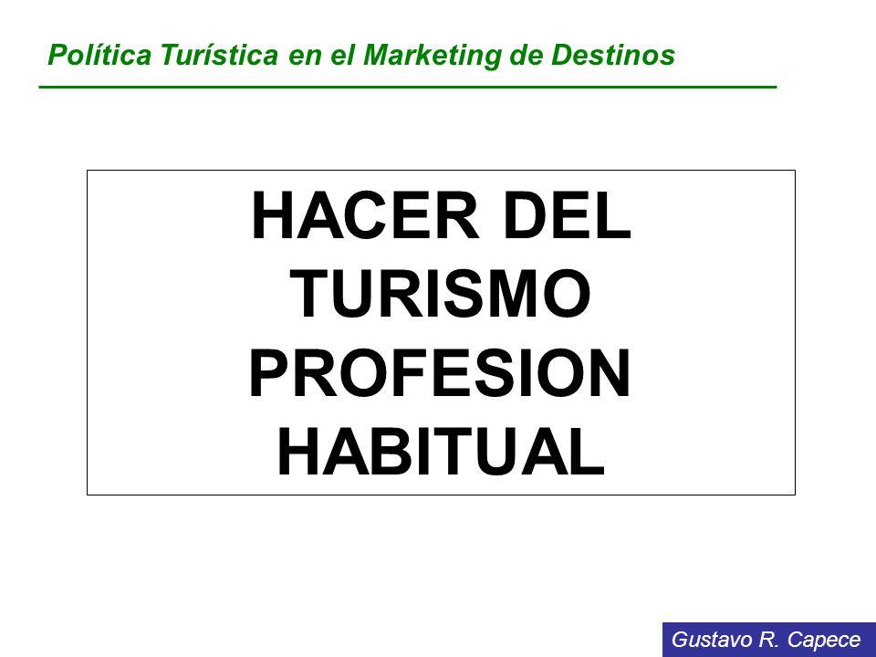 HACER DEL TURISMO PROFESION HABITUAL
