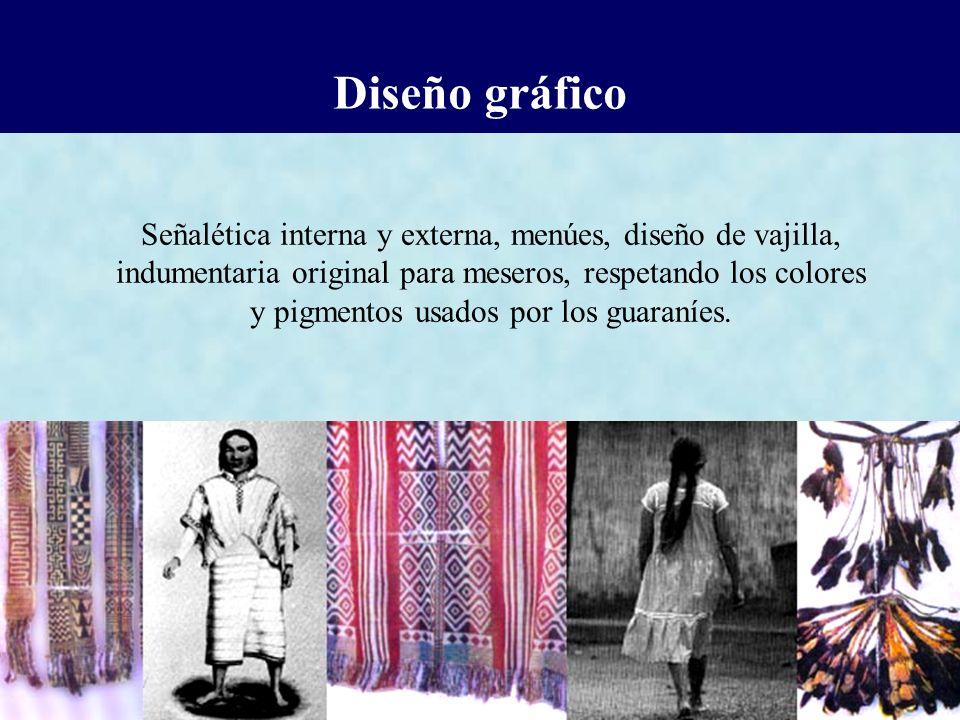 Diseño gráfico Señalética interna y externa, menúes, diseño de vajilla, indumentaria original para meseros, respetando los colores.