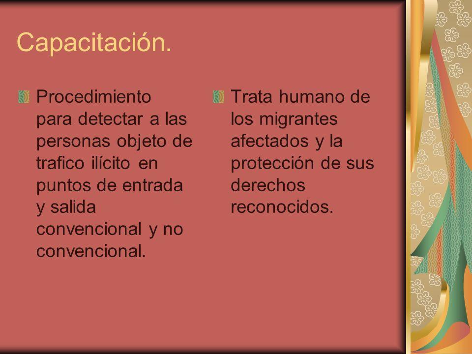 Capacitación.Procedimiento para detectar a las personas objeto de trafico ilícito en puntos de entrada y salida convencional y no convencional.
