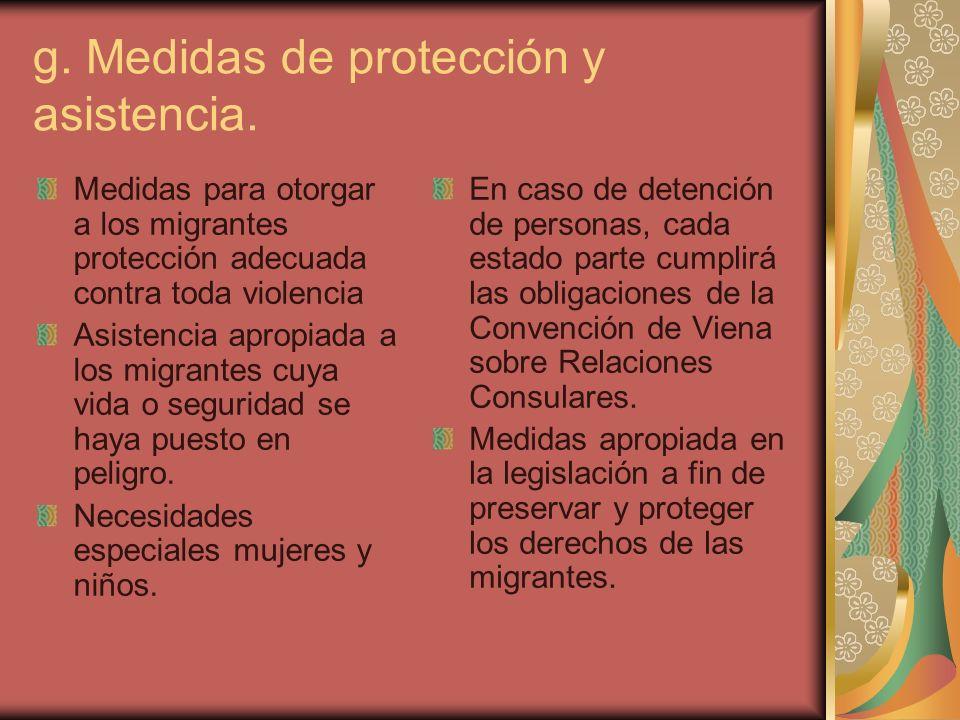 g. Medidas de protección y asistencia.