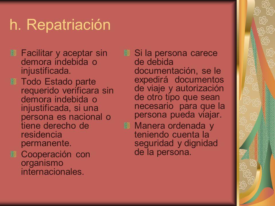 h. Repatriación Facilitar y aceptar sin demora indebida o injustificada.