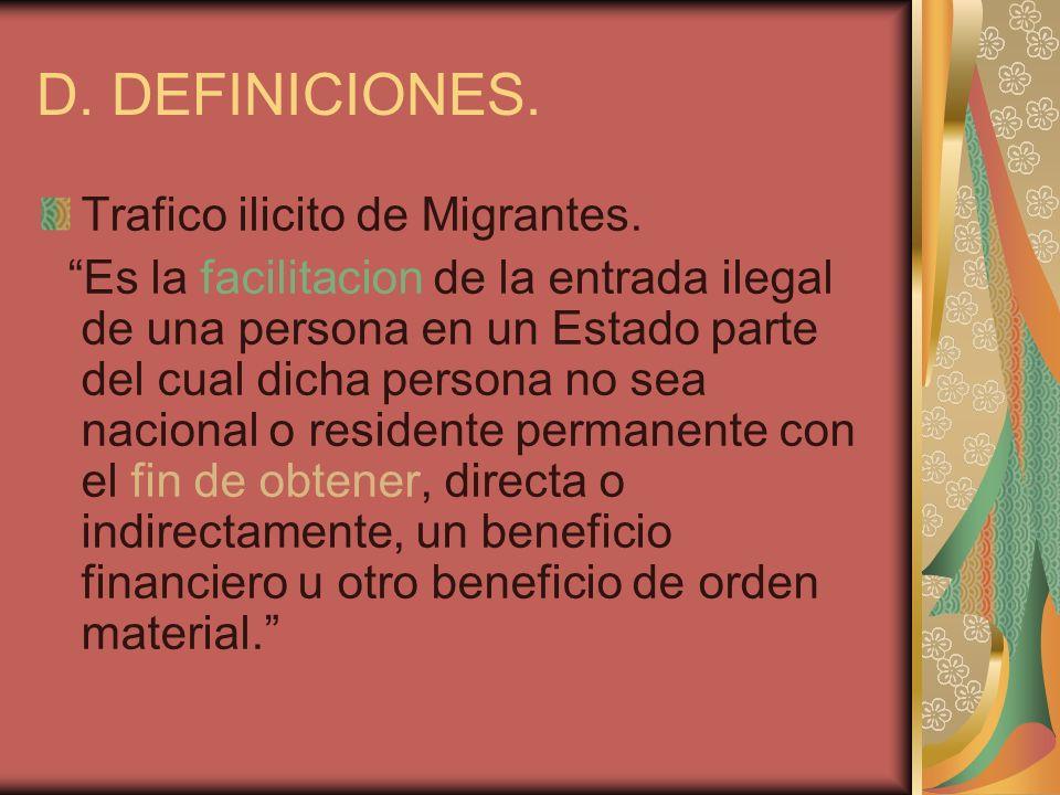 D. DEFINICIONES. Trafico ilicito de Migrantes.