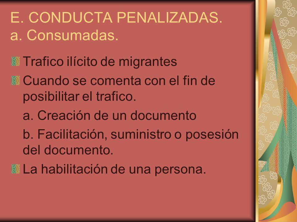 E. CONDUCTA PENALIZADAS. a. Consumadas.