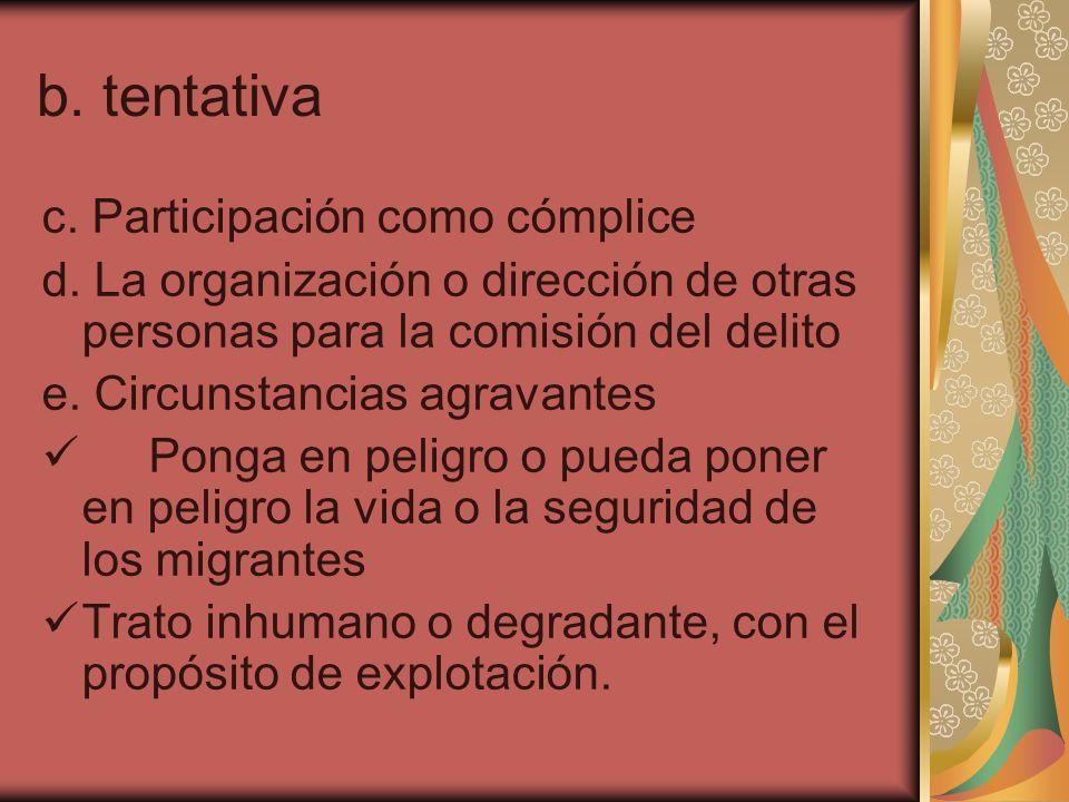 b. tentativa c. Participación como cómplice