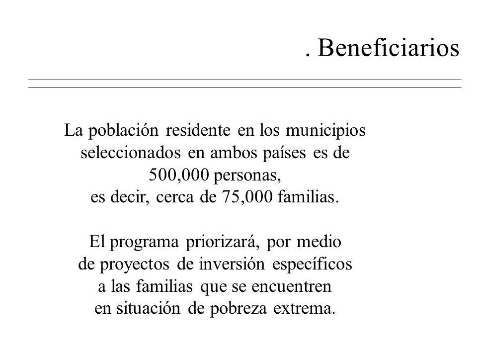 2. Beneficiarios La población residente en los municipios