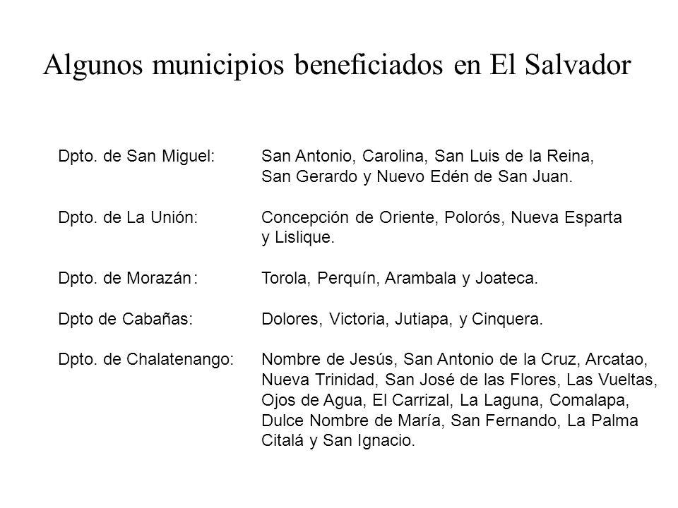 Algunos municipios beneficiados en El Salvador: