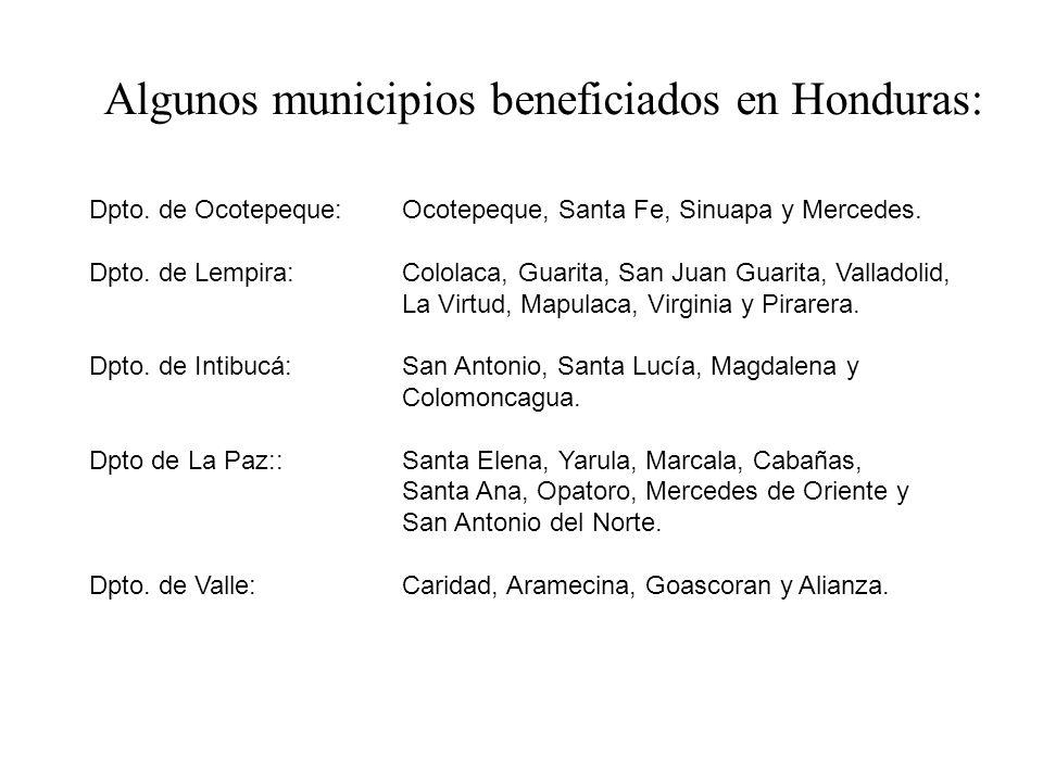 Algunos municipios beneficiados en Honduras: