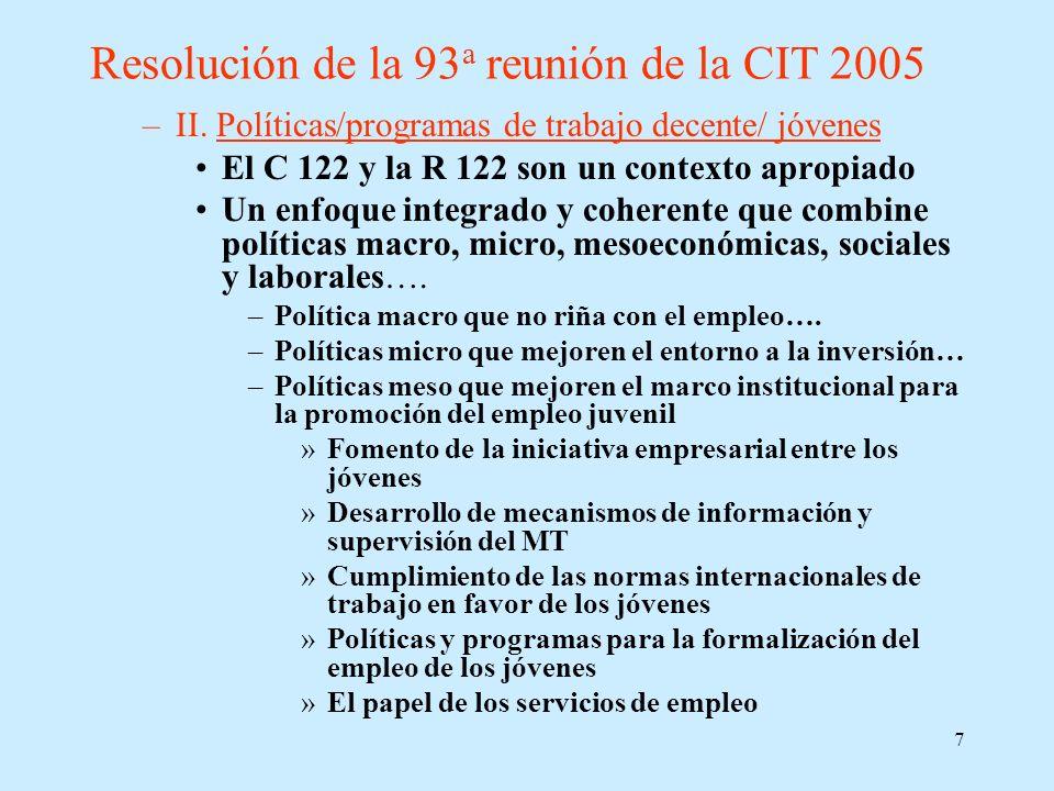 Resolución de la 93a reunión de la CIT 2005