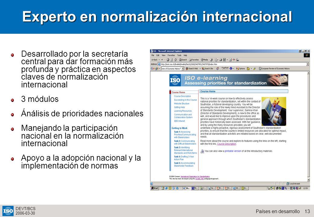 Experto en normalización internacional