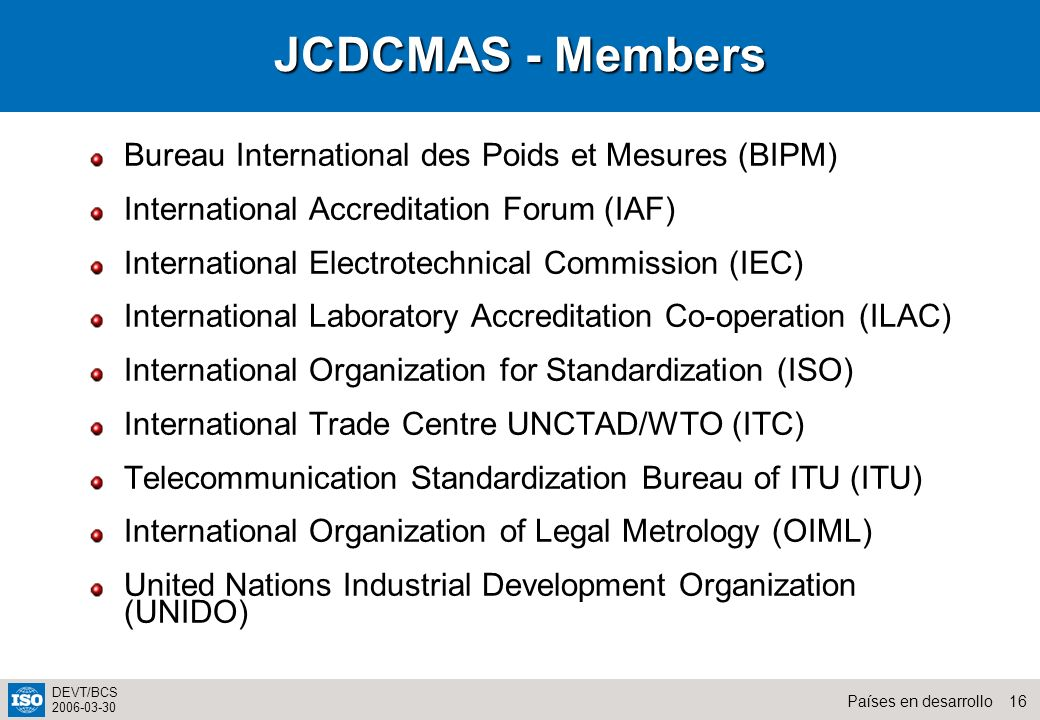 JCDCMAS - Members Bureau International des Poids et Mesures (BIPM)