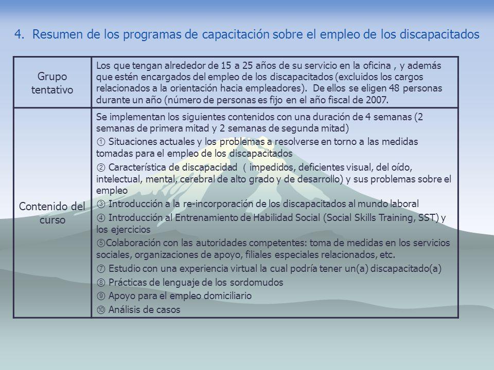 4. Resumen de los programas de capacitación sobre el empleo de los discapacitados