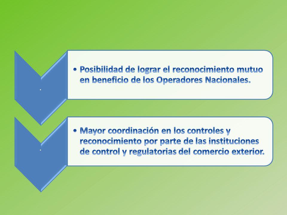 . Posibilidad de lograr el reconocimiento mutuo en beneficio de los Operadores Nacionales.