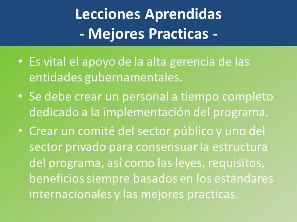 Lecciones Aprendidas - Mejores Practicas -