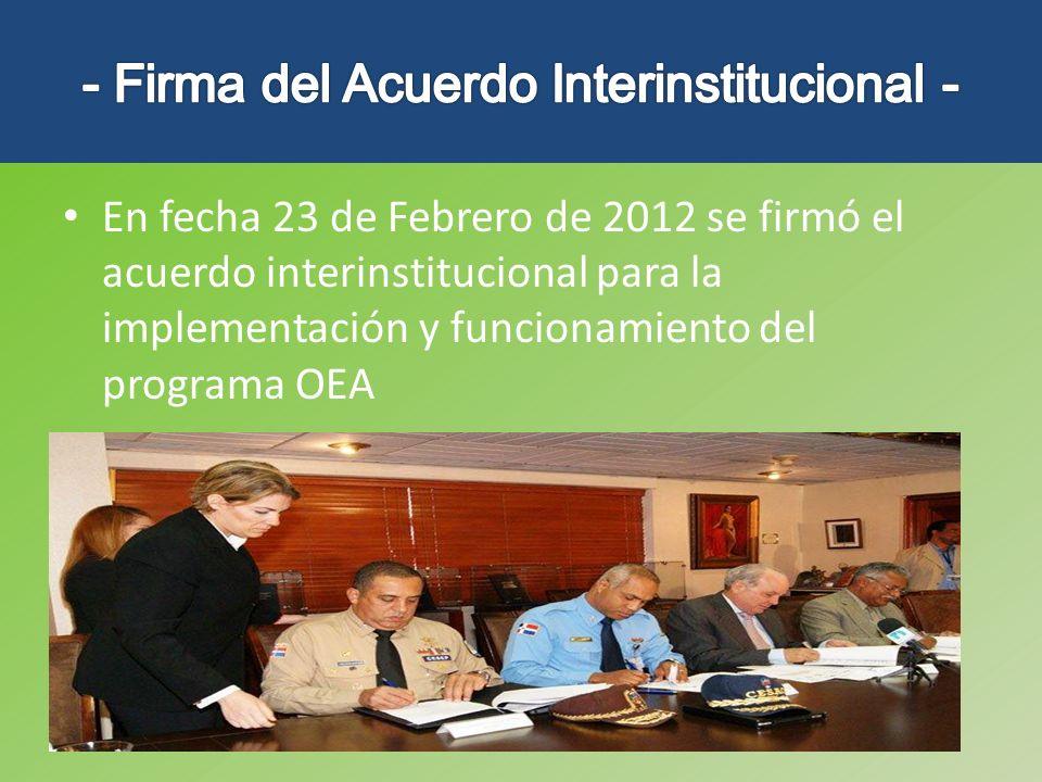 - Firma del Acuerdo Interinstitucional -