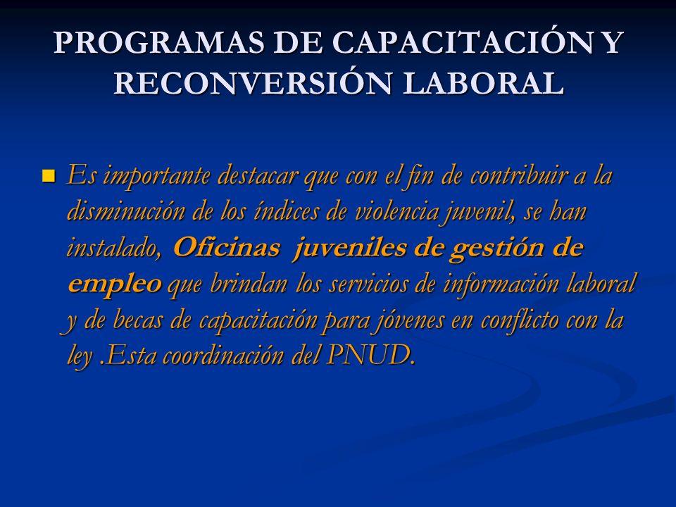 PROGRAMAS DE CAPACITACIÓN Y RECONVERSIÓN LABORAL