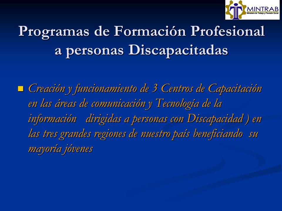 Programas de Formación Profesional a personas Discapacitadas
