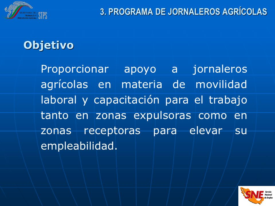 3. PROGRAMA DE JORNALEROS AGRÍCOLAS