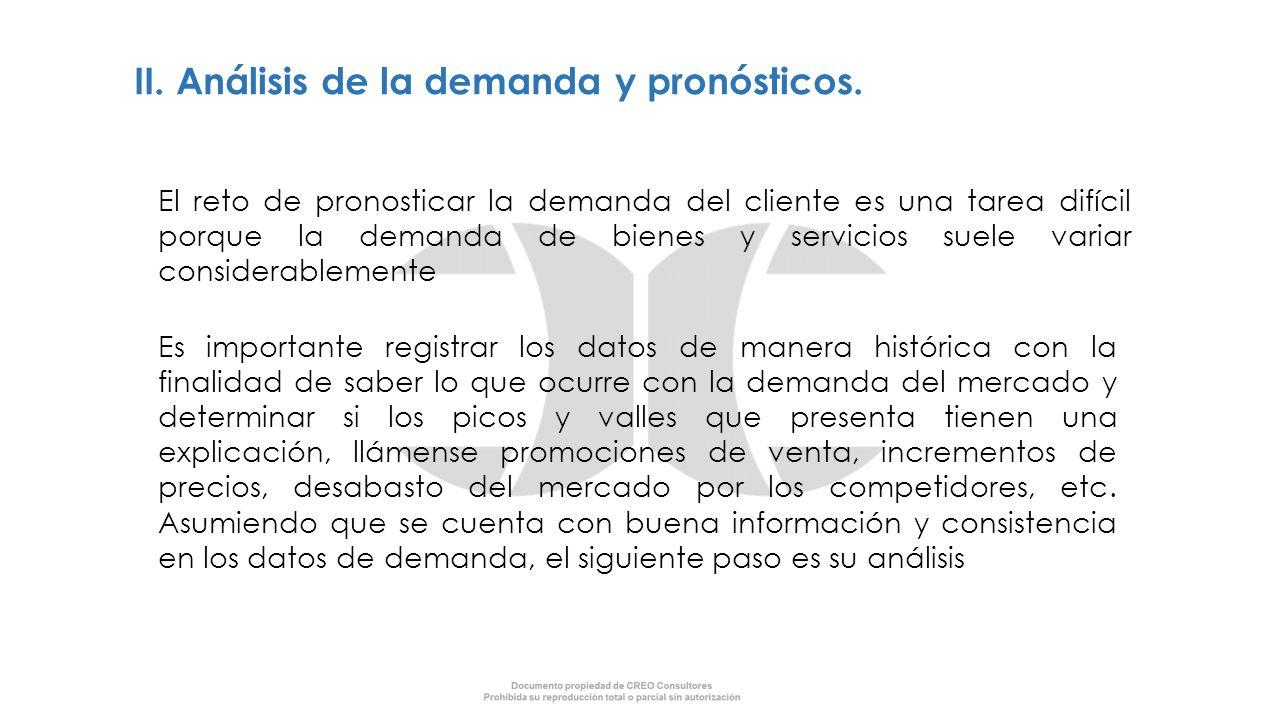 II. Análisis de la demanda y pronósticos.