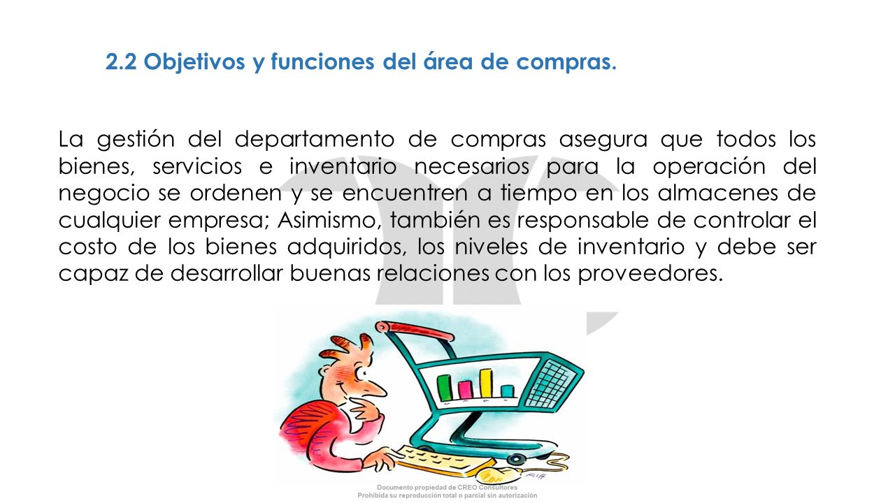 2.2 Objetivos y funciones del área de compras.