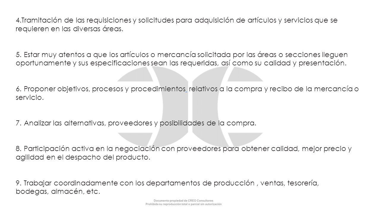4.Tramitación de las requisiciones y solicitudes para adquisición de artículos y servicios que se requieren en las diversas áreas.