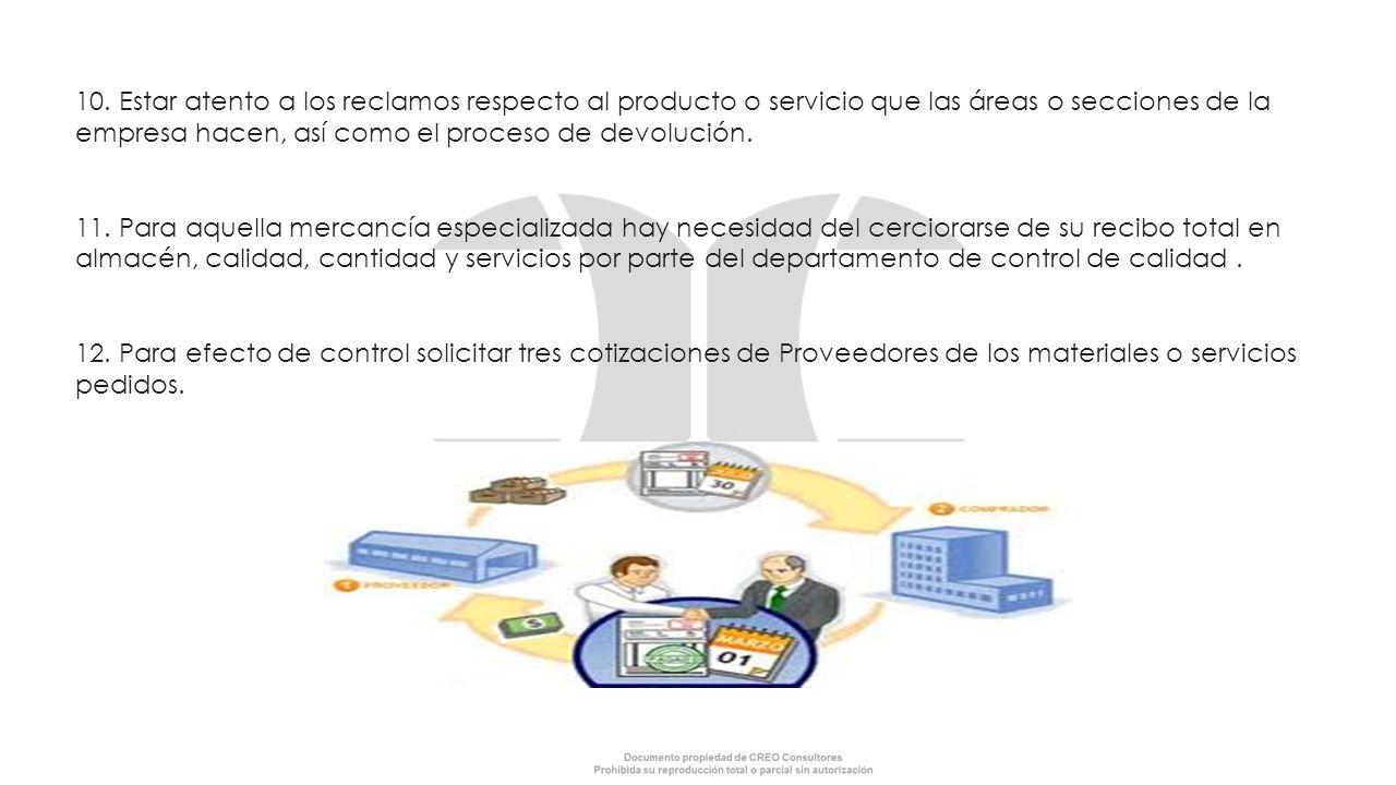 10. Estar atento a los reclamos respecto al producto o servicio que las áreas o secciones de la empresa hacen, así como el proceso de devolución.