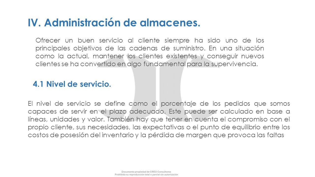 IV. Administración de almacenes.
