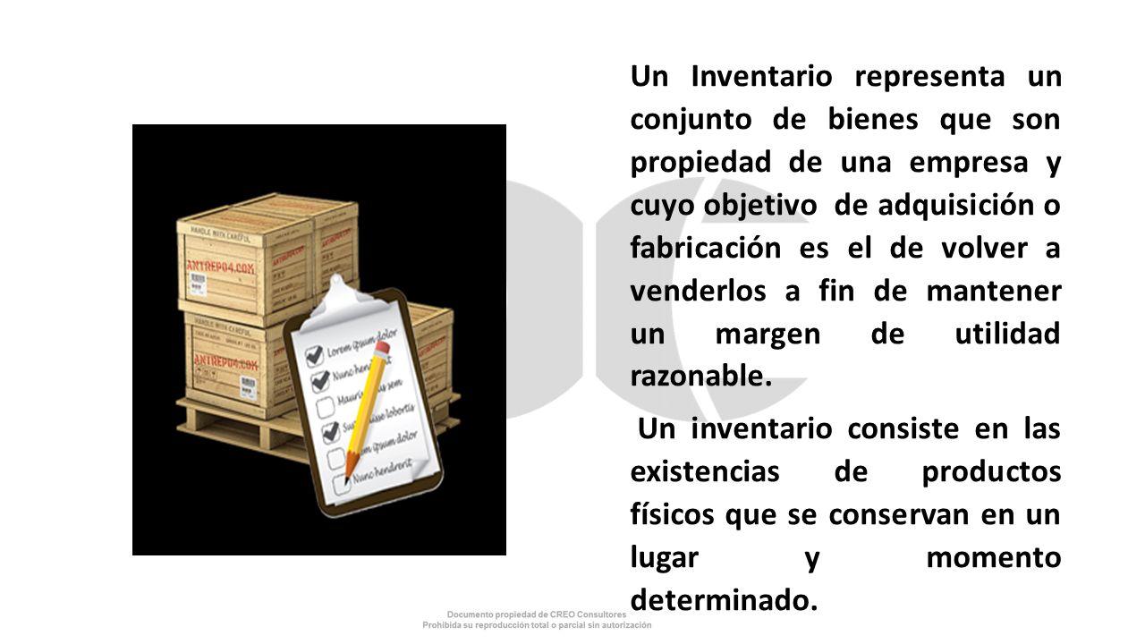 Un Inventario representa un conjunto de bienes que son propiedad de una empresa y cuyo objetivo de adquisición o fabricación es el de volver a venderlos a fin de mantener un margen de utilidad razonable.