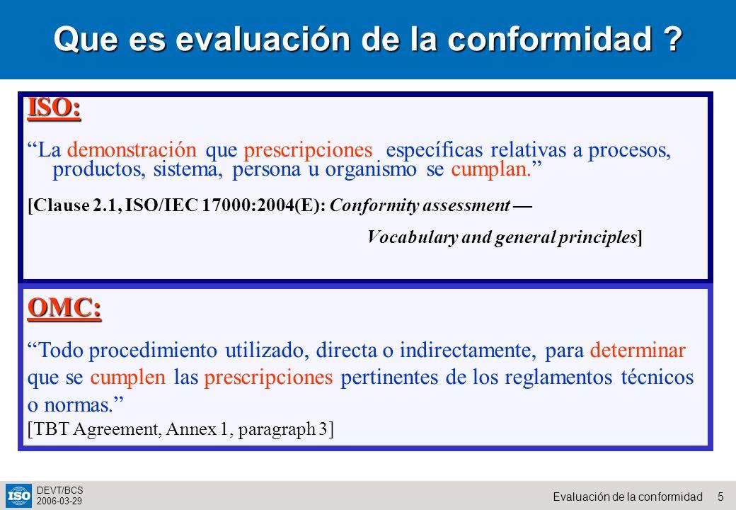 Que es evaluación de la conformidad