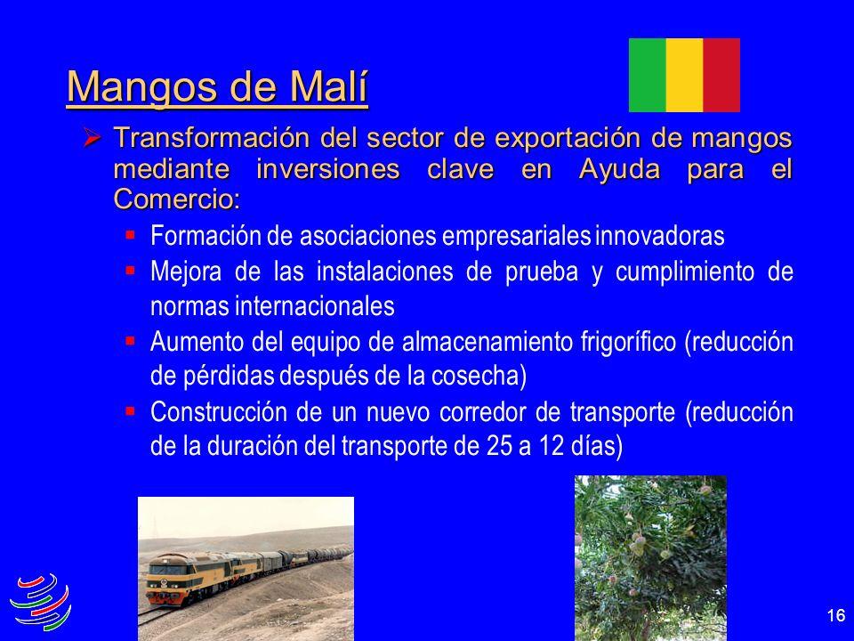 Mangos de Malí Transformación del sector de exportación de mangos mediante inversiones clave en Ayuda para el Comercio: