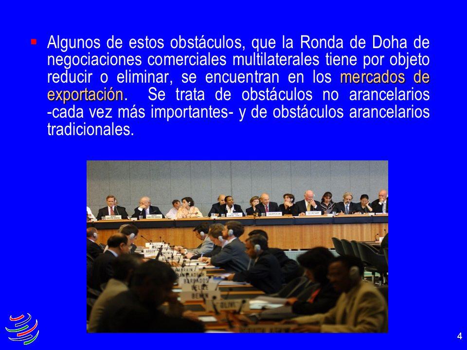 Algunos de estos obstáculos, que la Ronda de Doha de negociaciones comerciales multilaterales tiene por objeto reducir o eliminar, se encuentran en los mercados de exportación.