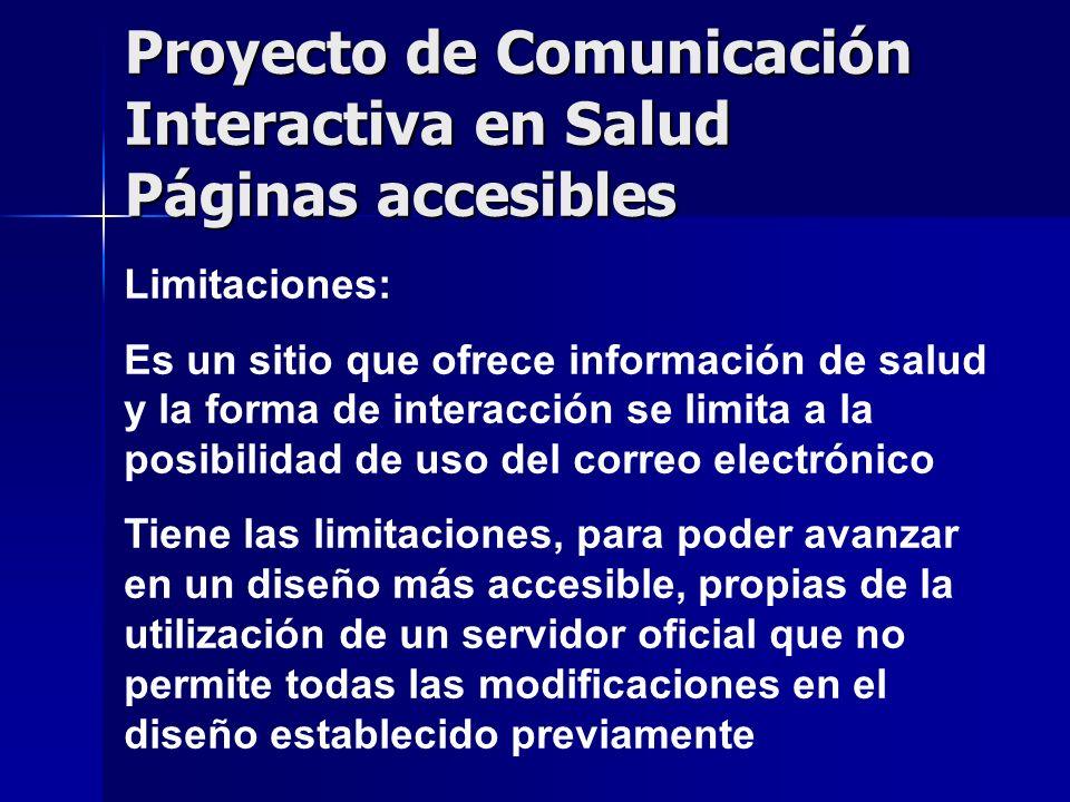 Proyecto de Comunicación Interactiva en Salud Páginas accesibles