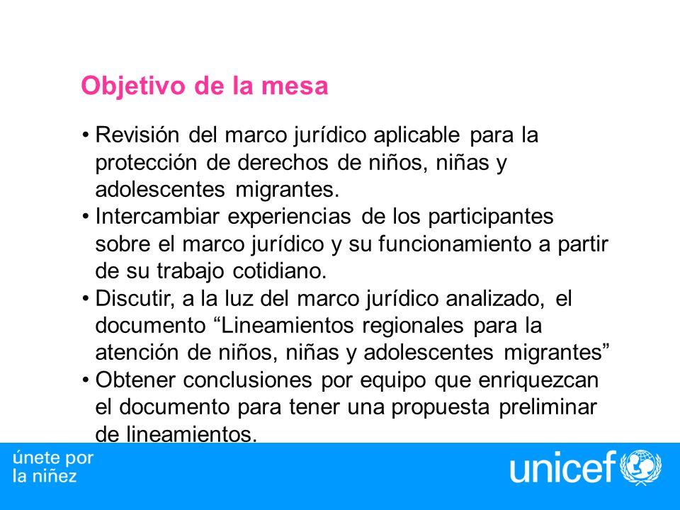 Objetivo de la mesaRevisión del marco jurídico aplicable para la protección de derechos de niños, niñas y adolescentes migrantes.