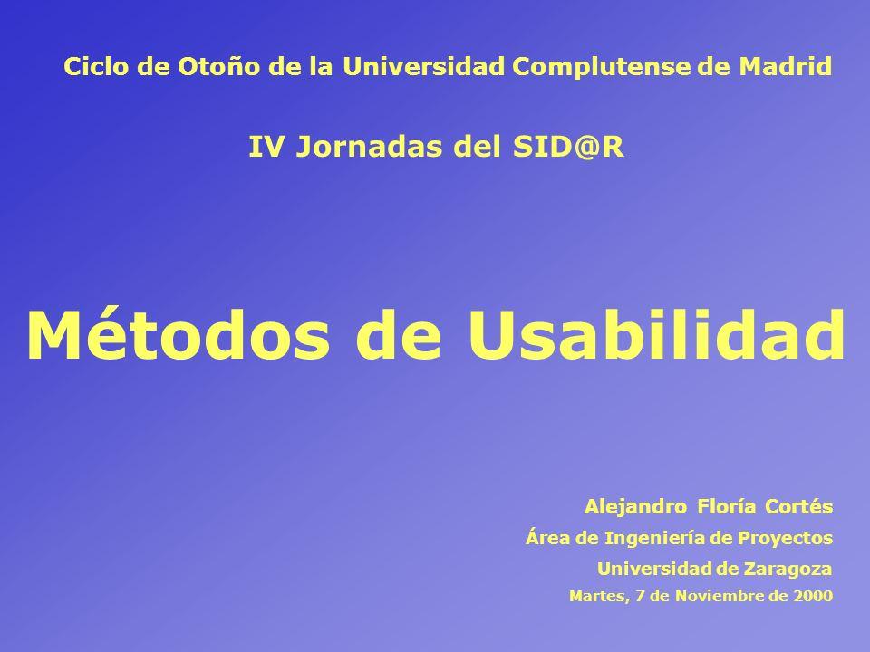 Métodos de Usabilidad IV Jornadas del SID@R