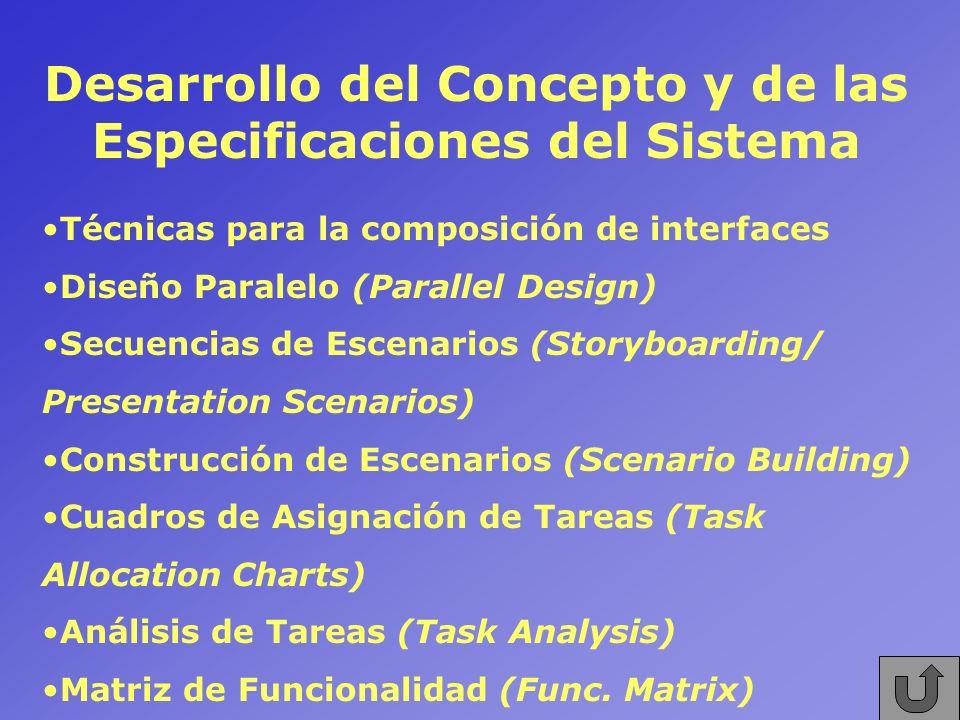 Desarrollo del Concepto y de las Especificaciones del Sistema