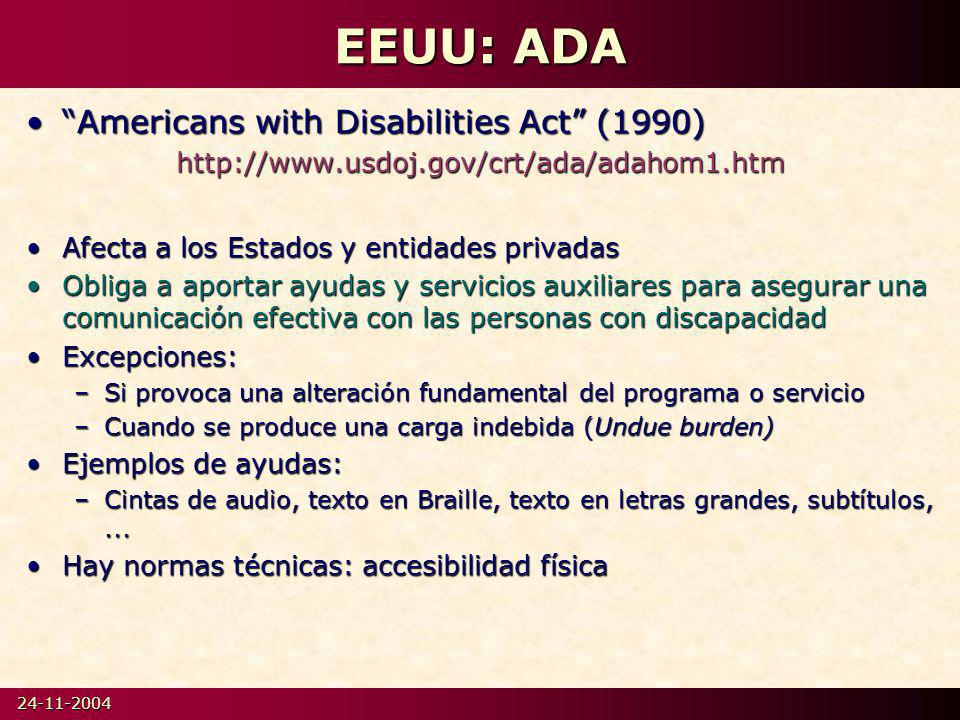 EEUU: ADA Americans with Disabilities Act (1990)