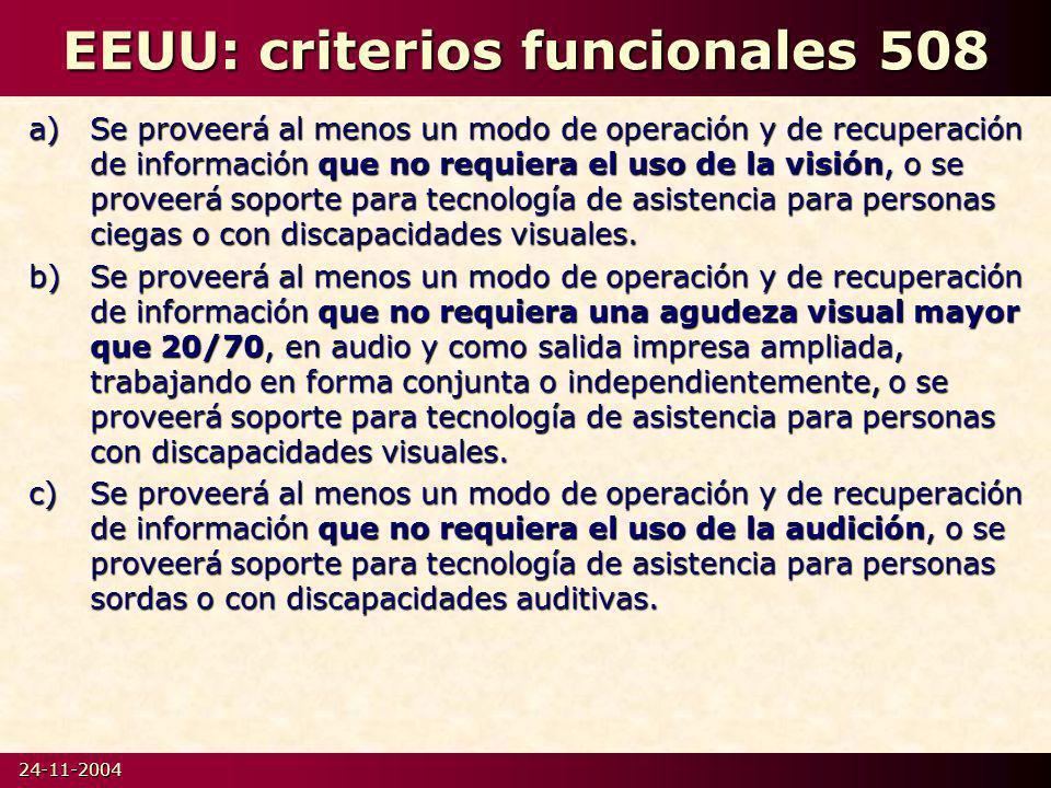 EEUU: criterios funcionales 508