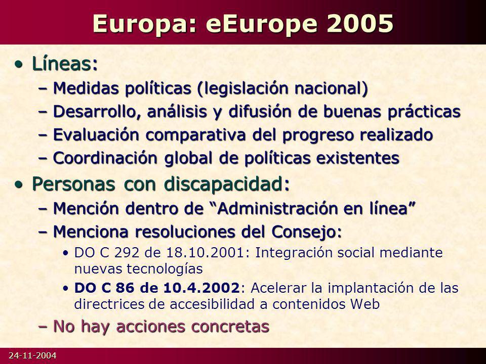 Europa: eEurope 2005 Líneas: Personas con discapacidad: