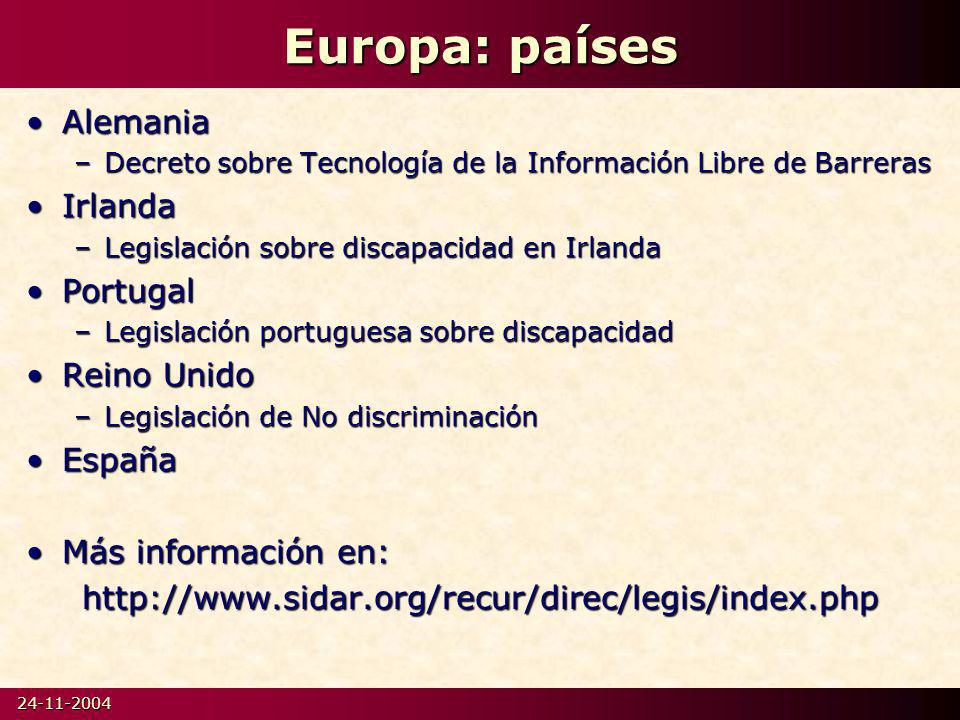 Europa: países Alemania Irlanda Portugal Reino Unido España