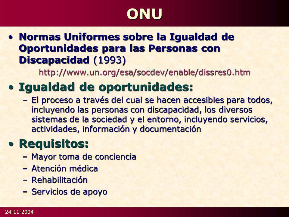 ONU Igualdad de oportunidades: Requisitos: