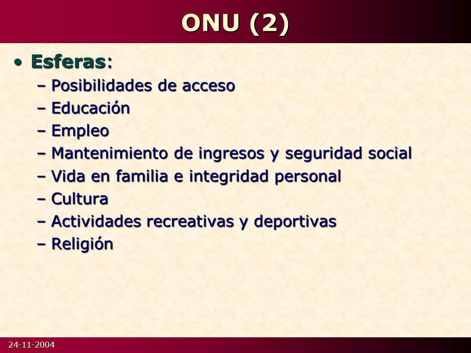 ONU (2) Esferas: Posibilidades de acceso Educación Empleo