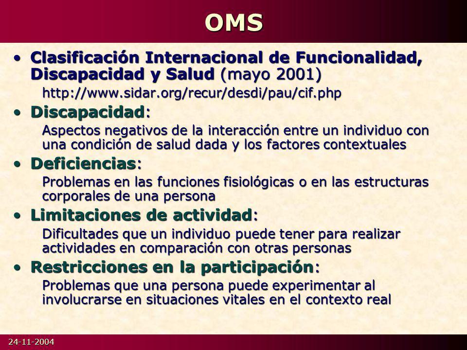 OMS Clasificación Internacional de Funcionalidad, Discapacidad y Salud (mayo 2001) http://www.sidar.org/recur/desdi/pau/cif.php.