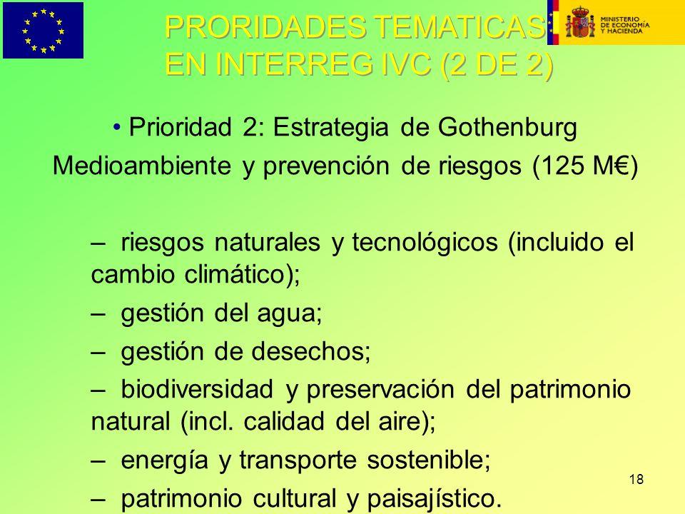 PRORIDADES TEMATICAS EN INTERREG IVC (2 DE 2)