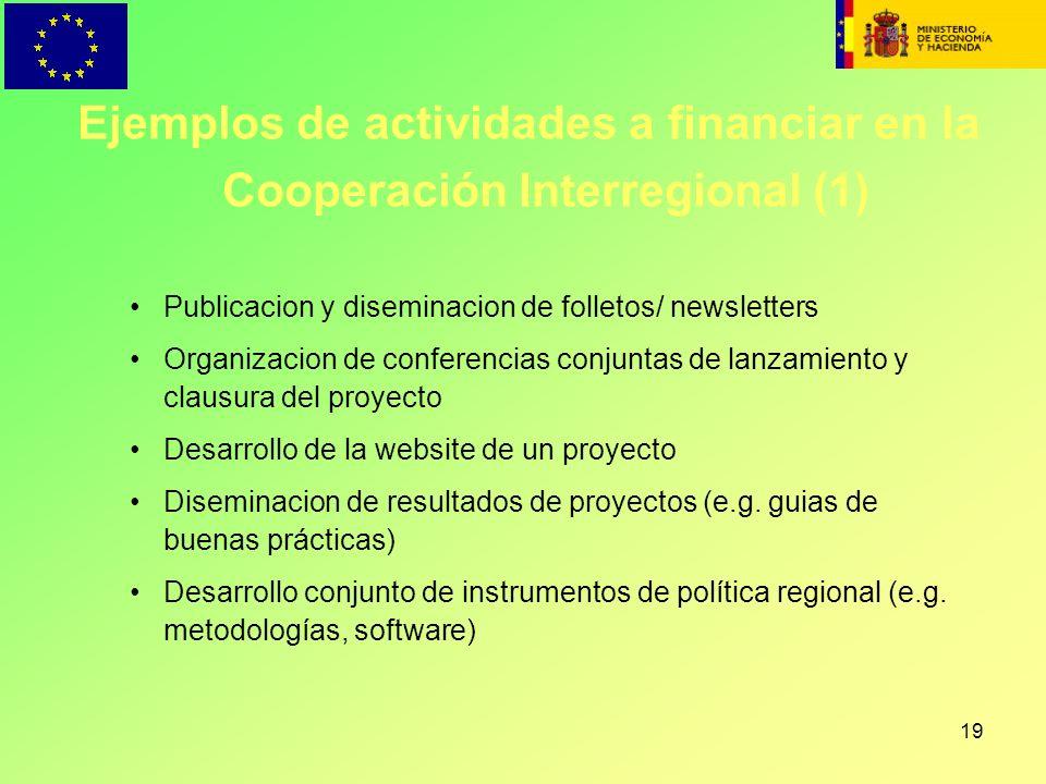 Ejemplos de actividades a financiar en la Cooperación Interregional (1)