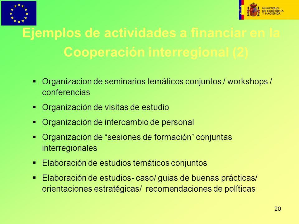 Ejemplos de actividades a financiar en la Cooperación interregional (2)
