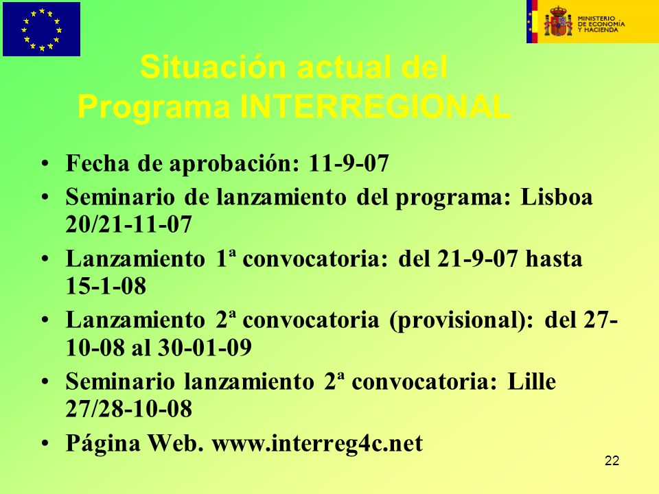 Situación actual del Programa INTERREGIONAL