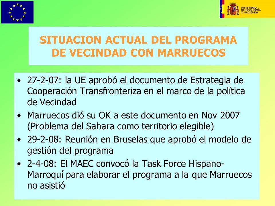 SITUACION ACTUAL DEL PROGRAMA DE VECINDAD CON MARRUECOS