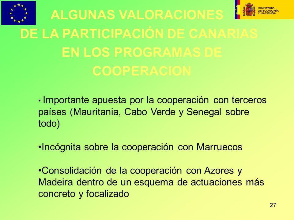 DE LA PARTICIPACIÓN DE CANARIAS EN LOS PROGRAMAS DE COOPERACION
